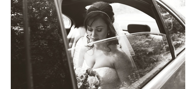 Leeds Wedding Photographer Ben Cumming Bride in Car